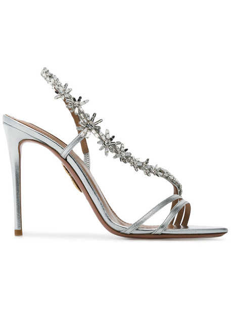 Aquazzura women embellished sandals silver leather grey metallic shoes