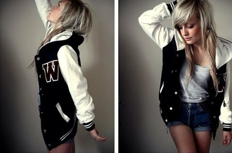 jacket varsity jacket varsity women women's varsity jacket black white fashion coat sweater nike adidas sporty athletic cute girly tomboy black varsity jacket bandw b&w style