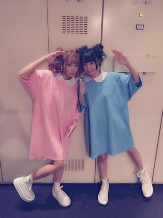 dress blue pink kawaii jewelry japanese fashion peter pan collar t-shirt dress