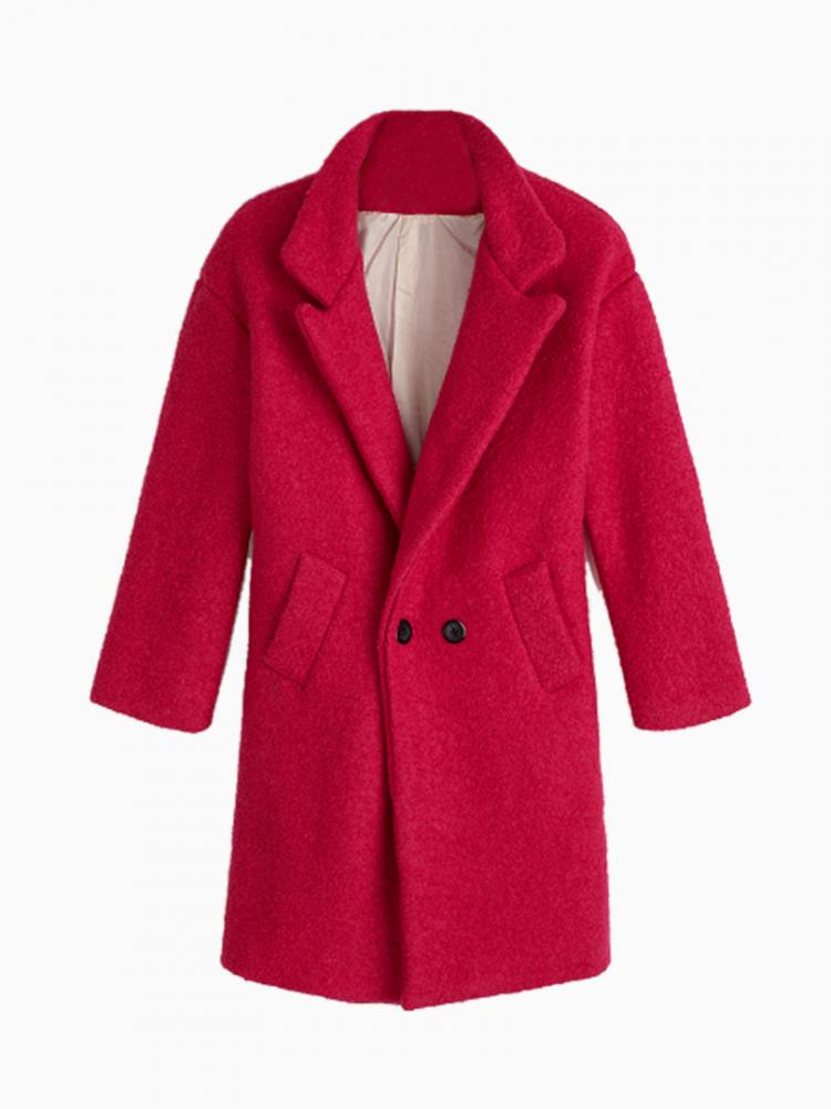 Longline Double Breasted Woolen Coat In Pink | Choies