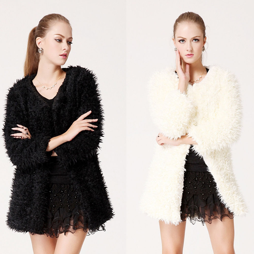 Womens Long Sleeve Winter Fluffy Coat Jacket Ladies Warm Faux Fur Outwear Top | eBay