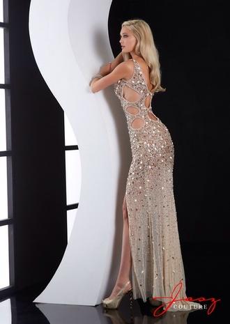 dress prom dress long flowy nude beige gorgeous straps