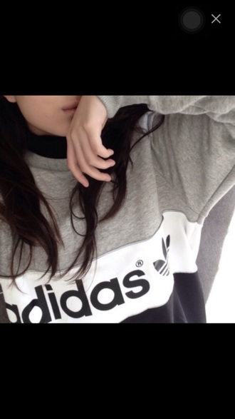 sweater adidas black grey white style sportswear fashion grey sweater white sweater black sweater fashionista