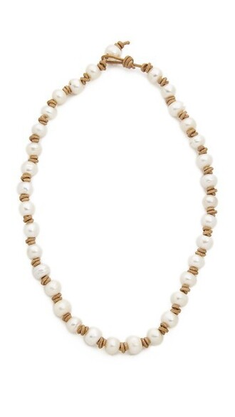 short pearl light necklace brown jewels