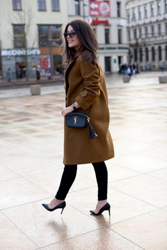 coat tumblr mustard brown coat pants black pants pumps pointed toe pumps high heel pumps bag black bag sunglasses