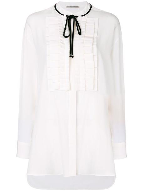 Ermanno Scervino - tie neck bib blouse - women - Silk/Viscose - 40, White, Silk/Viscose