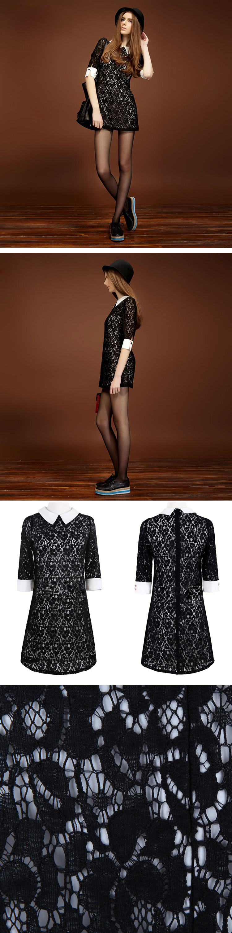 Retro Court Black Lace Hollow Dress$52
