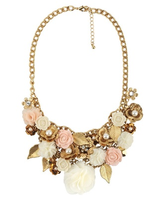 jewels necklace elegant pink roses pearl pastel
