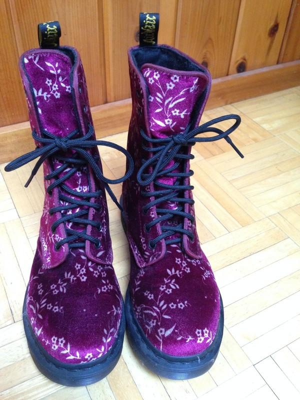 shoes purple DrMartens DrMartens doc marten floral boots combat boots