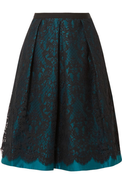 Draper James skirt midi skirt midi lace satin teal