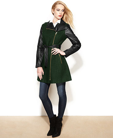 GUESS? Asymmetrical Mixed-Media Faux-Leather Belted Coat - Coats - Women - Macy's