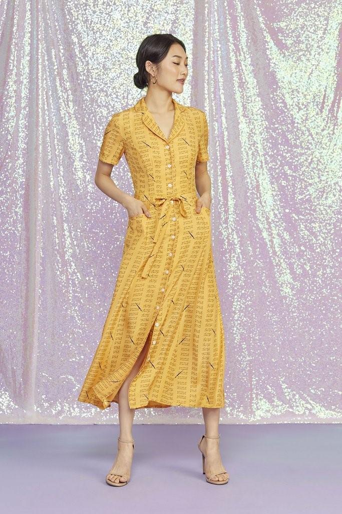 Yellow Love Notes Long Maria Dress
