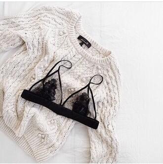 underwear lace bra pretty black mesh sweater lace up lace top lace lingerie lace bralette cozy white wool