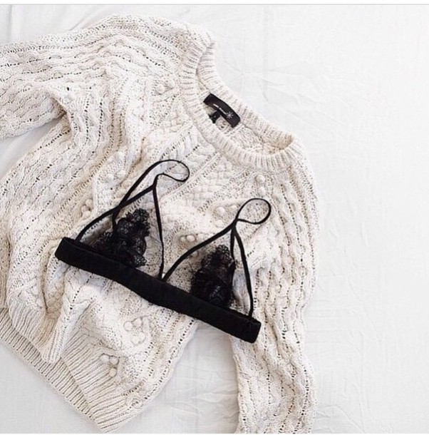 sweater underwear lace bra pretty black mesh lace up lace top lace lingerie lace bralette cozy white wool