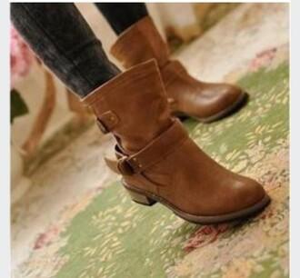 shoes brown boots low heel