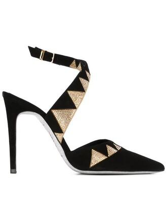 embellished pumps black shoes