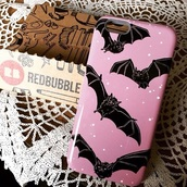 phone cover,pink,bats,iphone 5 case