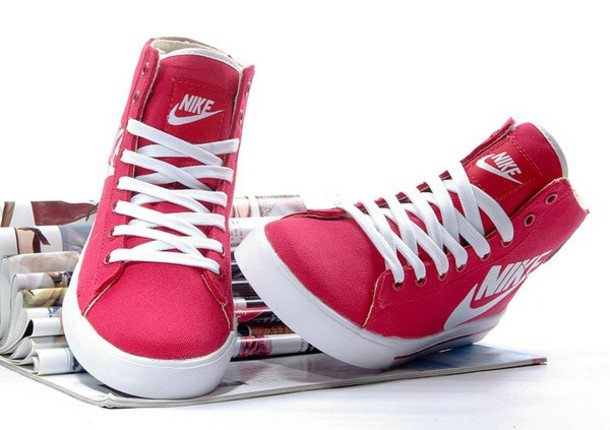 shoes red nike high tops