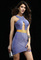 New style lilac & gold keyhole bandage dress