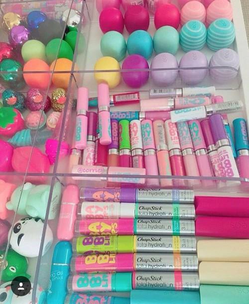 make-up pastel lip gloss aqua pink lip balm lipstick