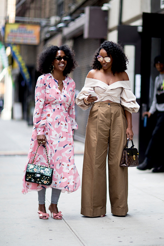 pants wide leg beige pants beige pants wide-leg pants top nude top off the shoulder off the shoulder top dress pink dress midi dress sandals streetstyle