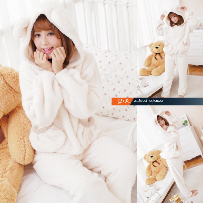 New cartoon clothing nightgown jumpsuit onesie shu velveteen unisex white polar bear costume full winter adult animal pajamas
