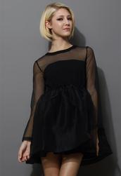 dress,dreamy,sheer crepe,panel,black