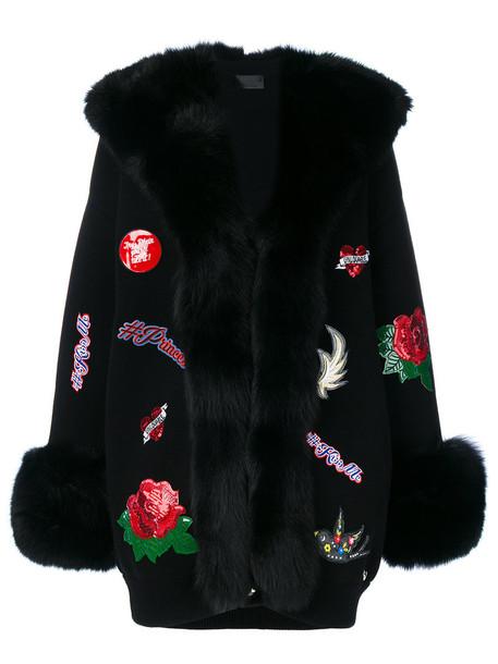 PHILIPP PLEIN cardigan fur trim cardigan cardigan fur fox women black wool sweater