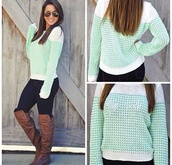 sweater,boots,shirt,mint,mint green sweater,shoes,fall outfits,knee,country style