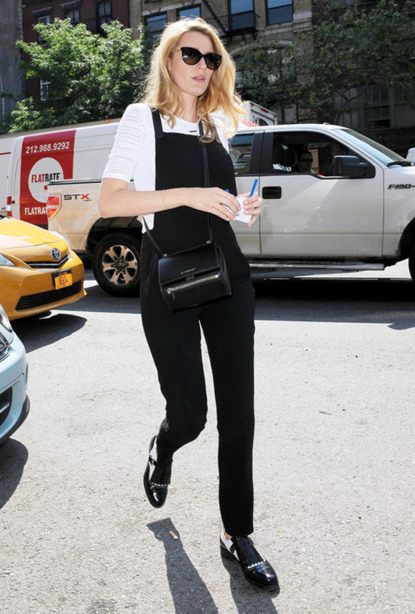 jumpsuit blake lively overalls romper black denim overalls denim black tumblr one piece