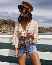 top,striped top,shorts,denim,bag,mini bag,tie-front top,crop tops,denim shorts
