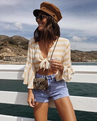 top striped top shorts denim bag mini bag tie-front top crop tops denim shorts