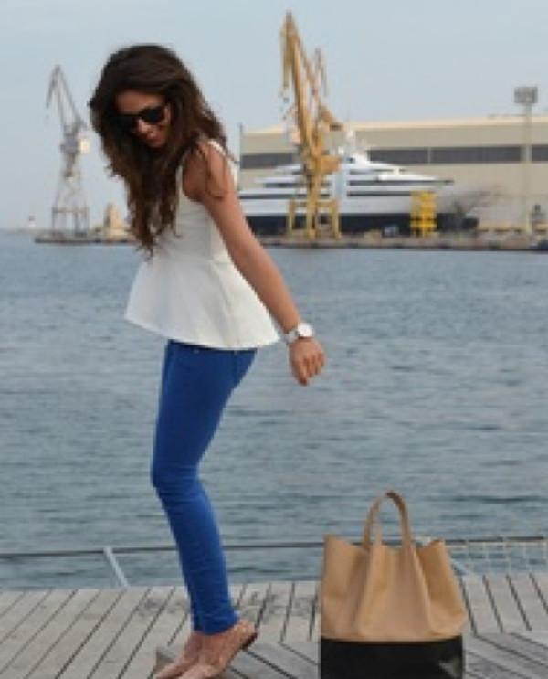 shirt peplum shirt white preppy peplum summer girl clothes bag tan bag black bag jeans top t-shirt blouse shoes