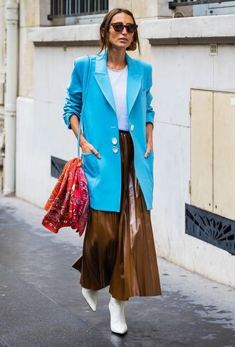 jacket blue blazer blazer top white top sunglasses streetstyle boots white boots skirt maxi skirt leather skirt brown skirt