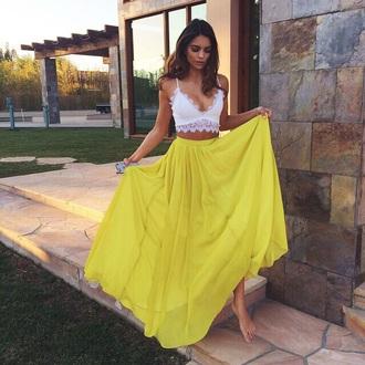 skirt maxi skirt chiffon skirt blouse
