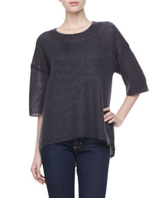 Mohair Half-Sleeve Sweater, Graphite