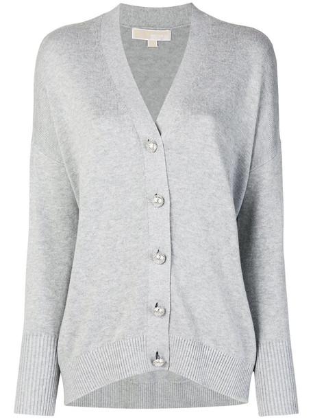 MICHAEL Michael Kors cardigan cardigan women embellished cotton grey sweater