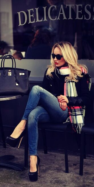 jeans ripped jeans high heels scarf tote bag for women flannel scarf