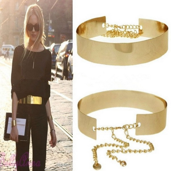 1PCS 66cm Women Punk Full Metal Mirror Waist Belt Metallic Gold Plate Wide Cummerbunds With Chains Lady 671419-in Belts & Cummerbunds from Apparel & Accessories on Aliexpress.com