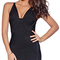 V neck asymmetric hem bandage dress black
