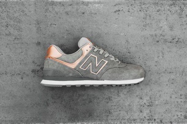 shoes, grey, rose gold, new balance