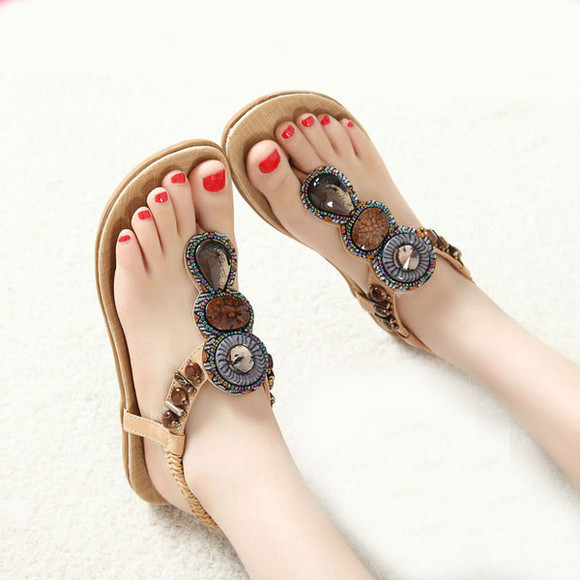 shoes sandal apricot beaded soft