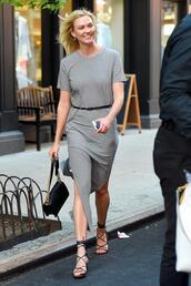 dress,stripes,striped dress,karlie kloss,model off-duty,streetstyle,slit dress