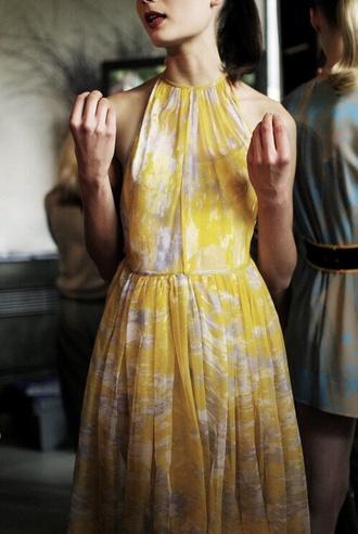 yellow sundress dress halter neck