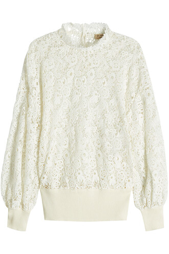 pullover lace cotton white sweater