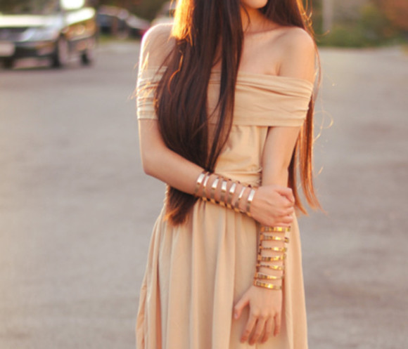 dress beige dress maxi dress beige grecian dress grecian greek goddess greek goddess gold bracelets gold roman long brown hair gold jewels jewels