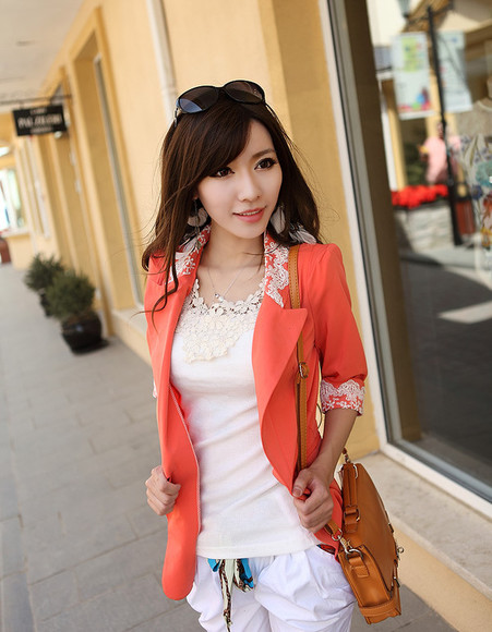 orange blouse blouse