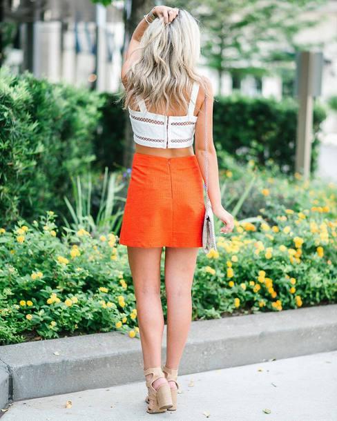 Skirt tumblr mini skirt orange orange skirt top white top crop tops sandals sandal ...