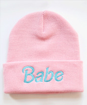 hat,babrie,babe,cool,pale,beanie,pink,sweet,swag,pastel,kawaii,pastel pink,blue,pastel blus,hipster,cute,taboggan,barbie,clothes,ootd,babe beanie,soft grunge