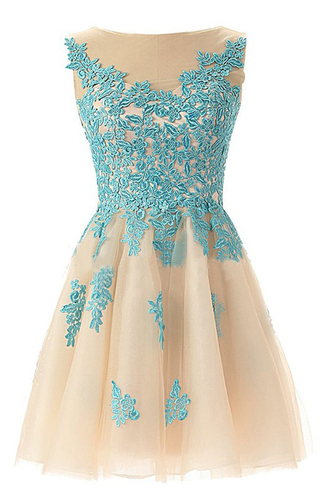 dress chic bateau sleeveless open back light champagne homecoming dress with blue appliques